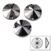 Cheap high quality sew on glass rhinestones foil back stone jet hematite for sale