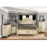Cheap Ivory White Wood Carving Bedroom Furniture Sets Contracted For Hotel for sale