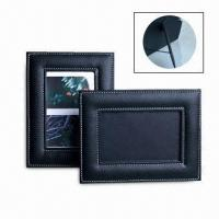 Buy cheap Black Leather Photo Frame, Made of PVC, Suitable for Gifts, Customized Sizes are from wholesalers