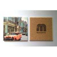 Square ceramic coaster with cork backing and printing logo