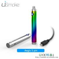 Cheap Rainbow Cigarette uSmoke Aegis 5 PIN USB Cable Passthrough battery 1100mah / 1300mah for sale