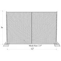 """Cheap 8' x 12' """"Great Wall Plus"""" temporary chain link fence panels 70mm x 70mm mesh for sale"""