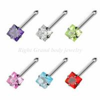 Cheap Toq Quality Square Shaped CZ Stone Body Piercings Jewelry For Party for sale