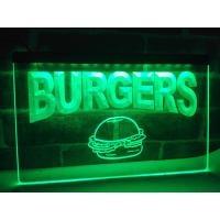 LED Lighted Acrylic Burgers Cafe LED Neon Light Sign Edge Lit Logo