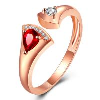Special Gemstone Gold Jewelry , Open Ruby Diamond Ring With Luxury Micro Pave Diamonds