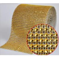 Cheap Gold color Diamante Mesh Wrap rhinestone sew on trimming for sale