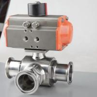 Cheap Hygienic Stainless Steel Three Way Tri Clamp Ball Valve With Pneumatic Actuator for sale
