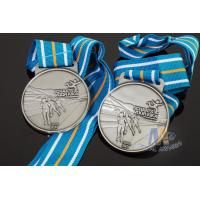 Cheap Sports Skiing Event 3D Effect Metal Award Medals With Antique Silver Plating Stripe Ribbon for sale