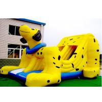 Cheap Yellow Spotty Dog PVC Slide Animal Theme Dog Shape Inflatable Slip N Slide for sale