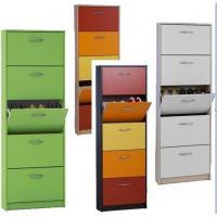 Green / White Wooden Shoe Rack Cabinet , Size 63 * 24 * 180cm DX-8607A