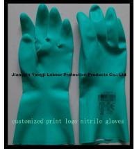 Cheap 2015 Hot Sale Print Logo Nitrile Gloves/Rubber Nitrile Gloves for sale