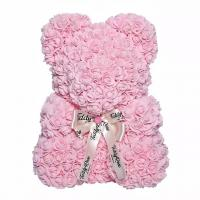 Cheap Hot Selling Wholesale Foam / PE Handmade Artificial Flowers Rose Bear for Valentine Day Gift 40cm rose bear for sale
