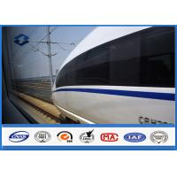 Steel Q420 Material High Speed Train Galvanized Steel Pole , Round Metal Pole One Section