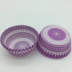 Cheap Purple Round Shape Muffin Paper Cups, Striped Cupcake LinersFDA SGS Standard for sale