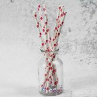 Cheap 8mm small caliber pearl cocktail pink heart color Biodegradable Paper Drinking Straws for sale