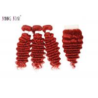 Buy cheap 3 Red Brazilian Hair Weave Bundles With Closure Deep Wave Hair Bundles With from wholesalers