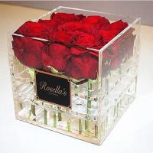 Cheap Acrylic flower box with lid customized transparent acrylic box print logo for sale