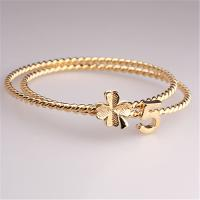 Cheap Fashion Accessories Beauty 18K Gold Plated #5 Lucky Clover Pendant Bangles Hot Selling in Russia Korea Japan Bracelet for sale