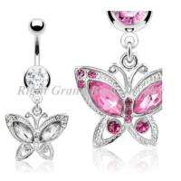 Cheap 316L Surgical Steel Belly Piercing Rings Butterfly Dangle with Crystal for sale