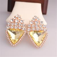 Cheap Fashion Big Size Rhombus Diamond Earrings Wedding Style 18K Rose Gold Plated Drip Earrings for Women Office Ladys Girls for sale