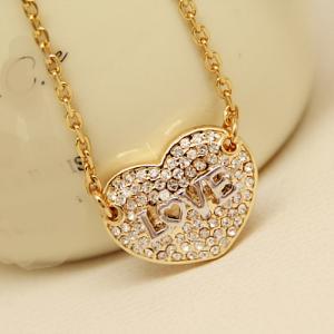 Cheap 2015 Alibaba Aliexpress Ebay China Fashion Jewelry Supplier Hollow Heart Pendant Necklace Imitation Diamond Necklace for sale