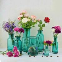 China Home Deco Glass Vases / Blue Glass Flower Bottle / Round Top Vase on sale