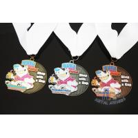 Cheap Soft Enamel Sports Medals And Ribbons With Black Nicekl Plating , Sublimated Ribbon for sale