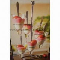 Cheap 7pcs mouth-blown ice cream glass set with iron support, barware, dinnerware, tableware for sale