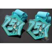 Cheap My Race 75K Marathon Custom Metal Sports Medals, Spray Pontan Colors And With Printing Ribbon for sale