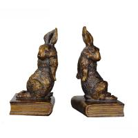 Cheap Pushing Bunny Home Decor Bookends Brass Rabbit Figurine Standing On Book Base for sale