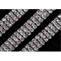 Cheap 3mm 3 rows dense claw rhinestone cup chain for dress phone DIY for sale