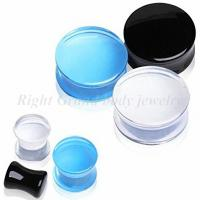 Cheap Unisex UV Acrylic Clear Convex Saddle Double Flared Tunnel Ear Expander Plugs For Party for sale