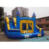 Cheap Commercial inflatable bouncy castle with double slide and removable banner for sale