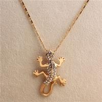 Cheap 2015 Hot Sale Adorable Goldtone Rhinestone Crystal Gecko Lizard Necklace Factory Direct Wholesales and Retail for sale