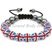 Cheap 10mm UK Flag Crystal Bead Shamballa Bracelets with 8mm Hematite Bead for sale