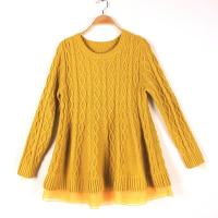 Long sleeve girl s jacquard sweaters pullover round neck cable knits