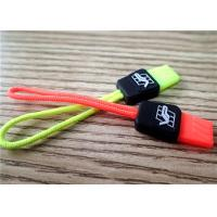 Cheap Fluorescent Color Rubber Zipper Puller With Embossment Logo For Garment , Bags , Luggages for sale