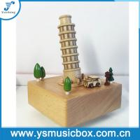 Cheap Souvenir The Leaning Tower of Pisa Gift Music Boxes, Mechanical Music Box Wooden Musical B for sale