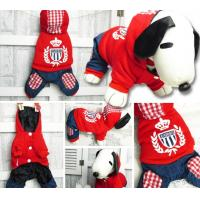 customized animal dog boy check clothes jane trousers sasual pet wear