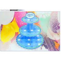 Cheap Party Children's Birthday Decoration Paper Blue Petal Folding Cake Stand Three-layer Paper Crafts Factory Wholesale for sale