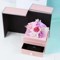 Cheap Eternal flower jewelry box for teachers' day gifts real preserved flower box drawer boxes for sale