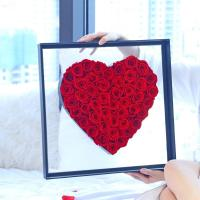 Cheap New Arrival Real Preserved Roses Heart Shape Acrylic Box Gift For Valentines Day for sale
