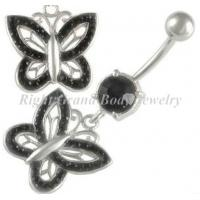 Cheap Unique Crystal Belly Button Navel Rings With Prong Set CZ Stone Jet , Purple for sale