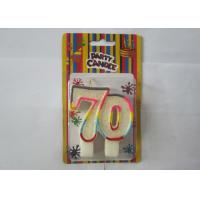 White Glitz 70th Number Birthday Candles Paraffin Wax With Multi - Coloured Sided Manufactures