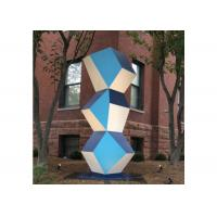 Cheap Stainless Steel Outdoor Art Painted Metal Sculpture Geometric Decor Sculpture for sale