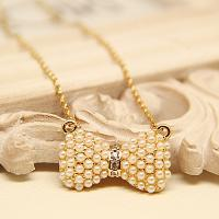 Cheap Korean Fashion Bowknot Pearl Neacklace Pendant for Women in Jewelry Factory Direct 2015 for sale
