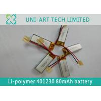 Cheap multi-function small sized li-ion battery 401230 80mAh with PCB and leading wires for smart electronics for sale