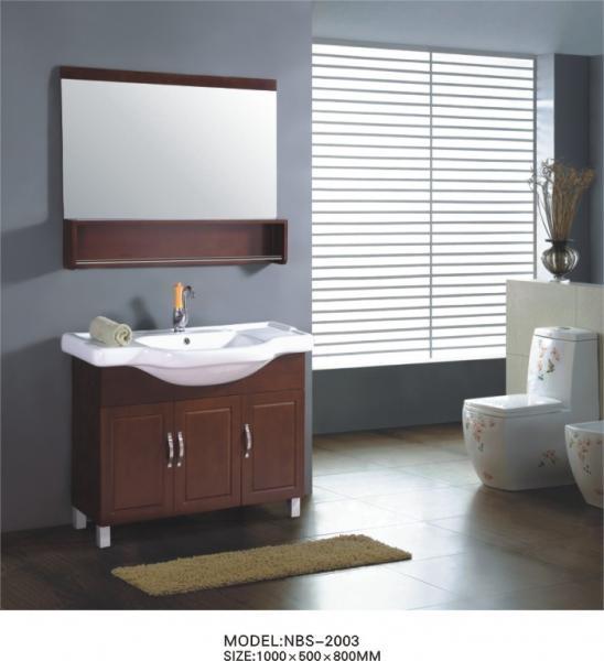 Quality Different handles custom bathroom vanity solid wood , white wood bathroom wall cabinet optional Waste drain wholesale