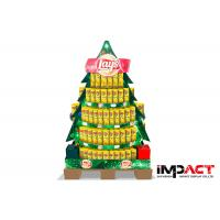 Point Of Sale Cardboard Display Stand For Chips / Snacks , Christmas Tree Shaped