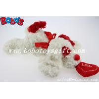 China Bobo's Plush White Lying Dog Animal With Red Heart Pillow In Wholesale Price on sale